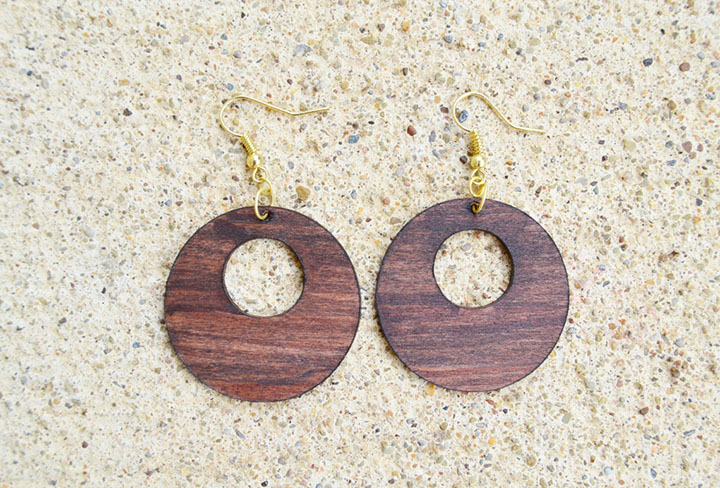 wooden earrings made using a Cricut Maker knife blade