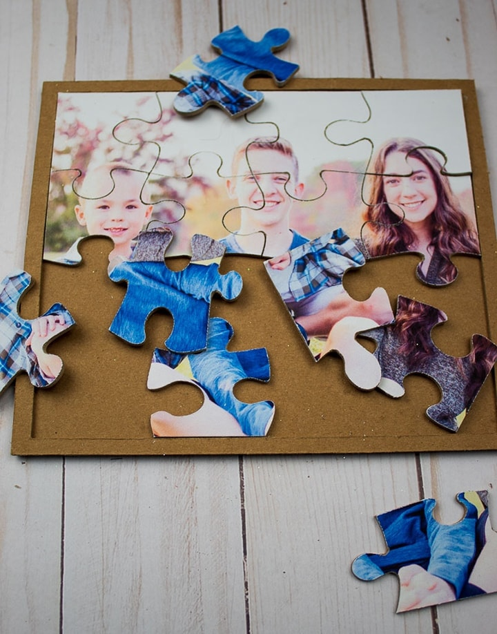 chipboard DIY family puzzle made using a Cricut machine