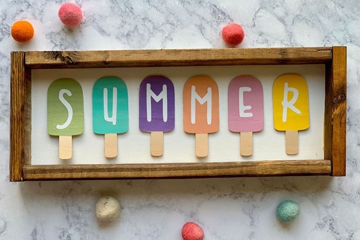 wooden and vinyl summer popsicle sign made using a Cricut Maker knife blade