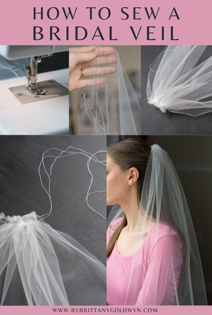 pinnable graphic about how to make a DIY bridal veil including photos of the process and text overlay
