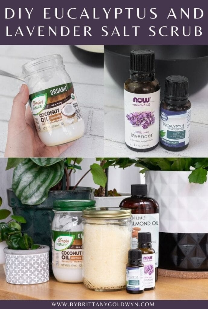 pinnable graphic of eucalyptus salt scrub images and text overlay about how to make it