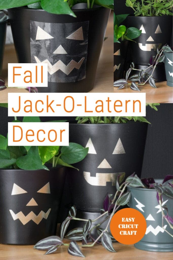 pinnable graphic about free pumpkin face SVG cut files including photos of them cut out on vinyl and put into planter pots and text overlay
