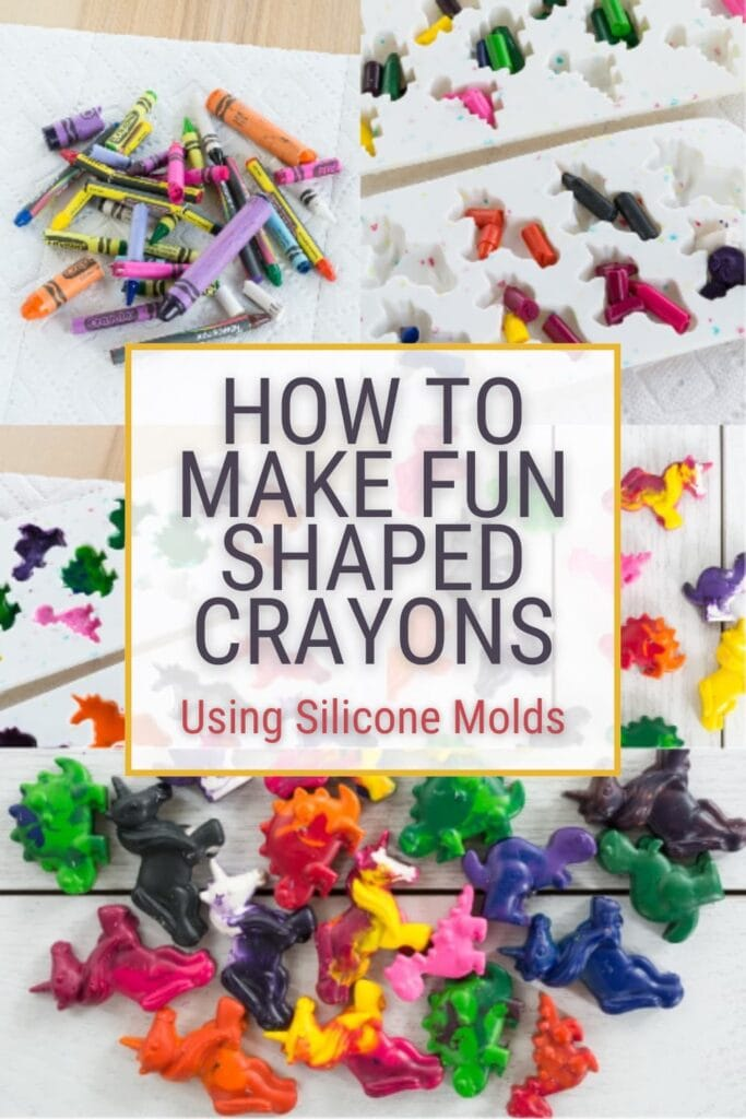 image collage melting crayons , with text How to Make Fun Shaped Crayons Using Silicone Molds