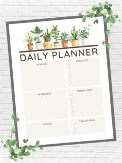 Plant-Themed Printable Daily Planner Page