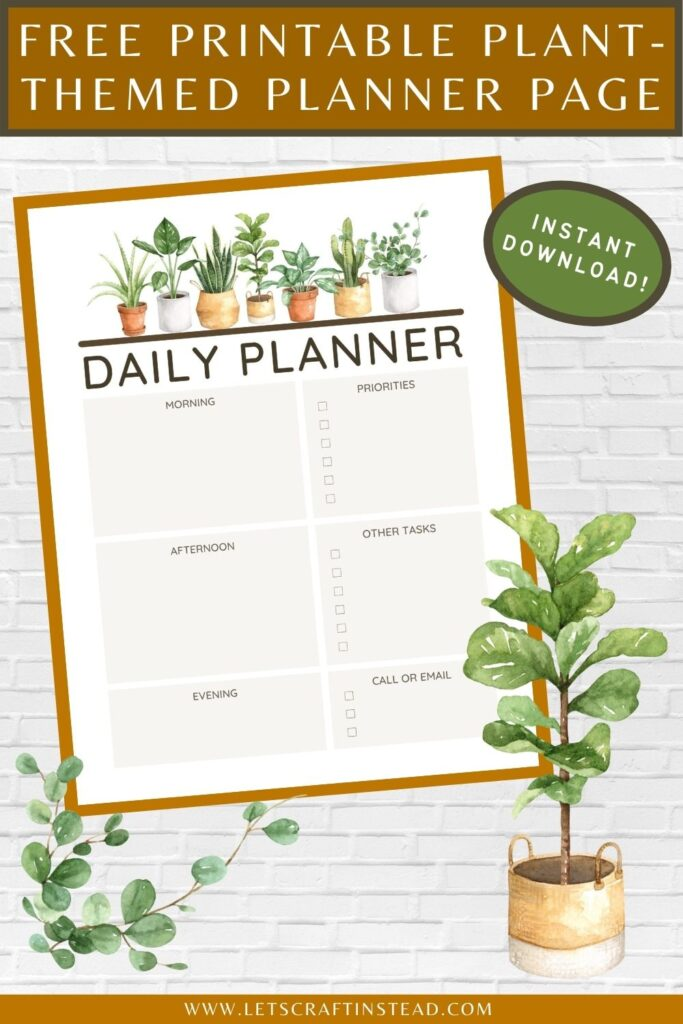 pinnable graphic about a free printable plant-themed planner page including images and text overlay
