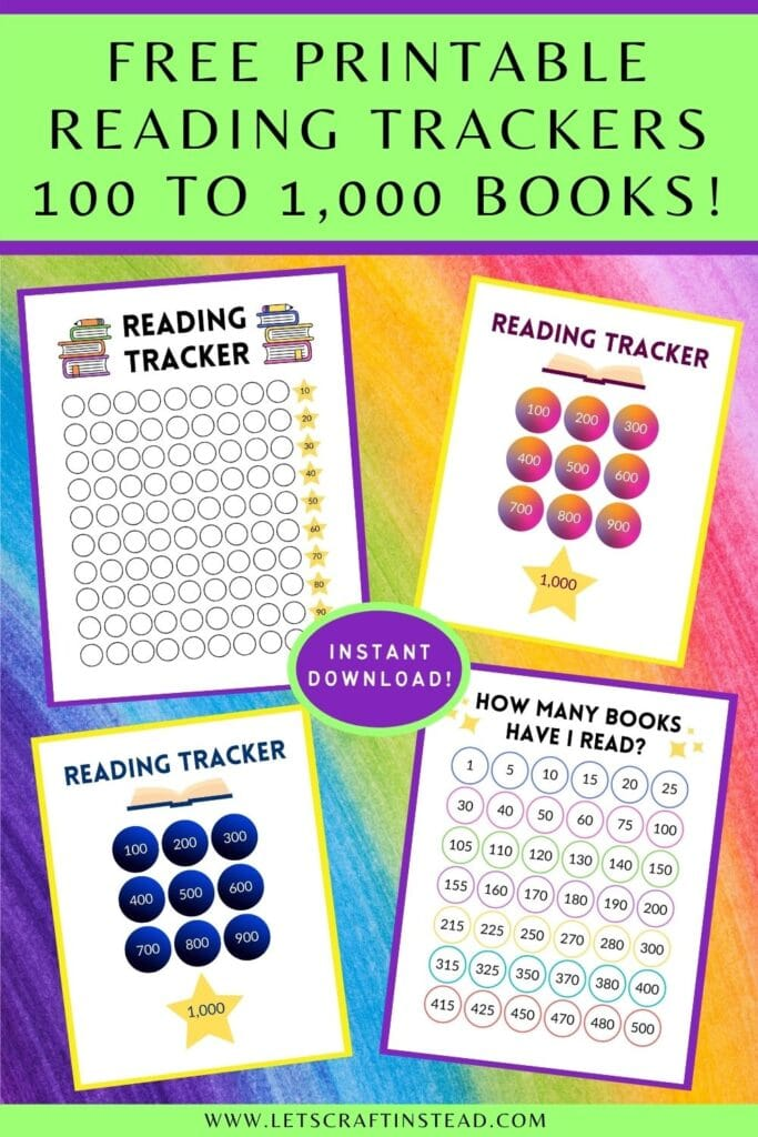 pinnable graphic about free printable reading trackers for kids including images of some of the trackers and text overlay