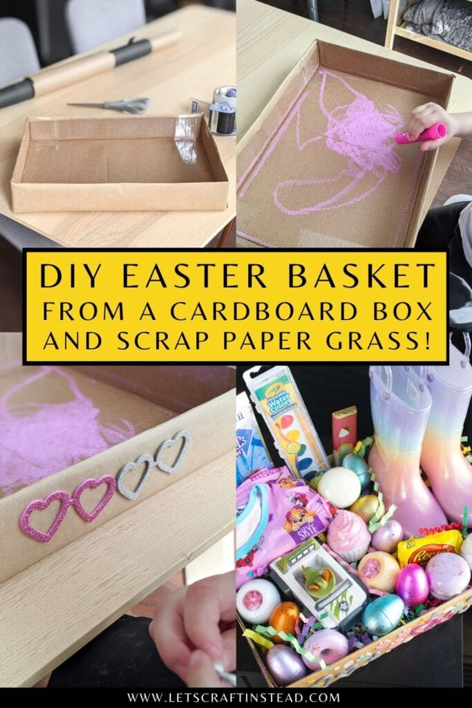 pinnable graphic about DIY Easter baskets made using a recycled box and grass made with paper including an image and text overlay