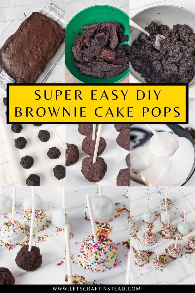 pinnable graphic about super easy brownie cake pops including images and text overlay