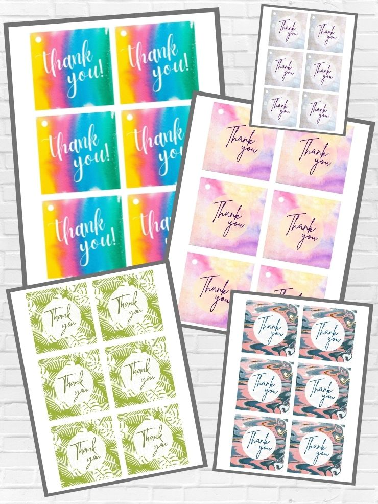graphic including screenshots of some of the free colorful printable thank you tags