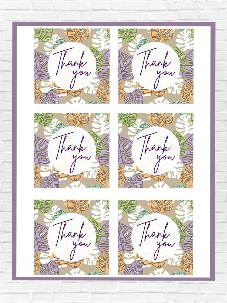 graphic including screenshots of some of the free printable thank you tags with leaves