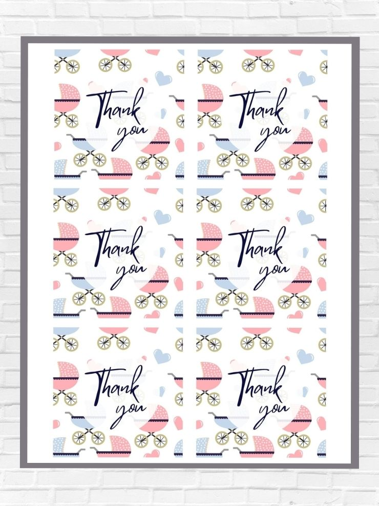 graphic including screenshots of some of the free printable thank you tags for a baby shower