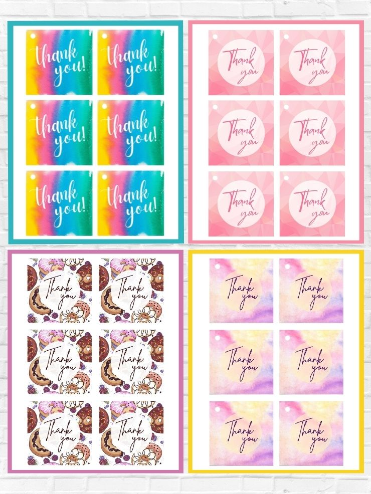 graphic including screenshots of some of the free printable thank you tags