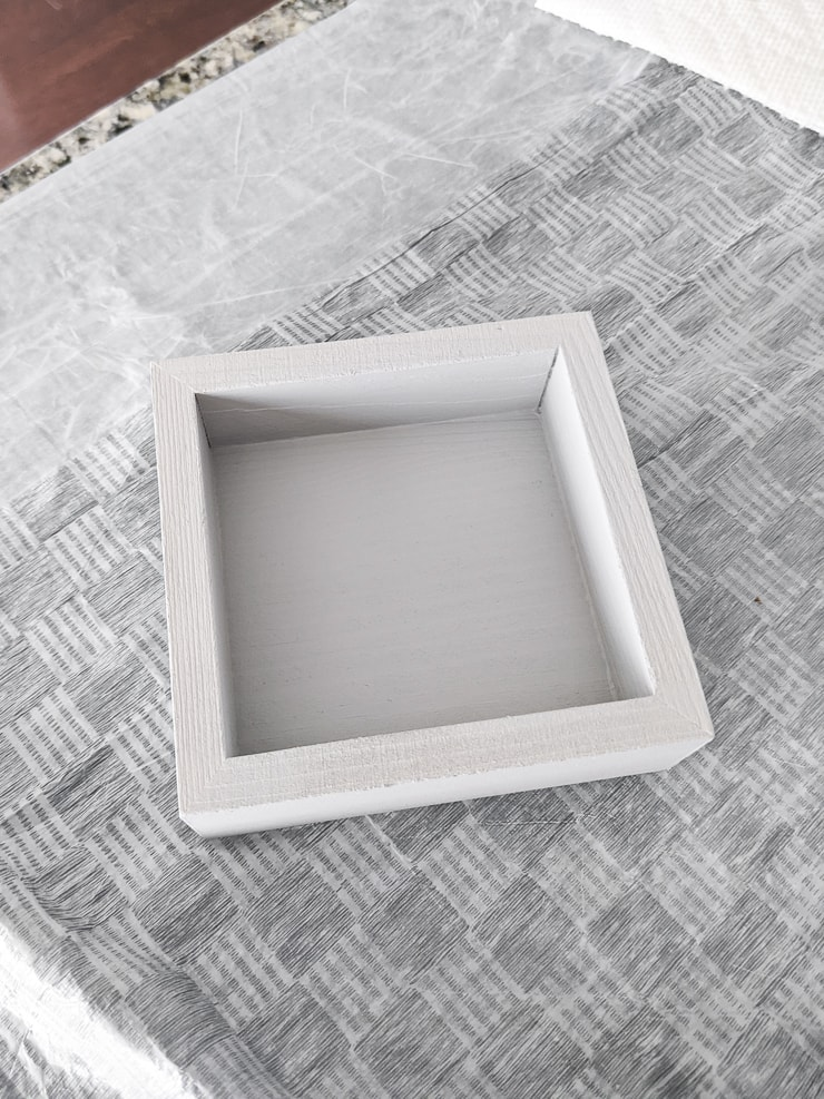 gray painted wooden tray