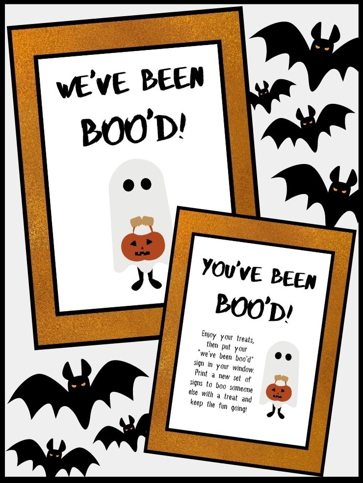 pinnable graphic about my you've been booed free printables including images and text overlay