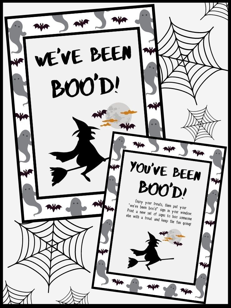 pinnable graphic about my you've been booed free printable set including images and text overlay