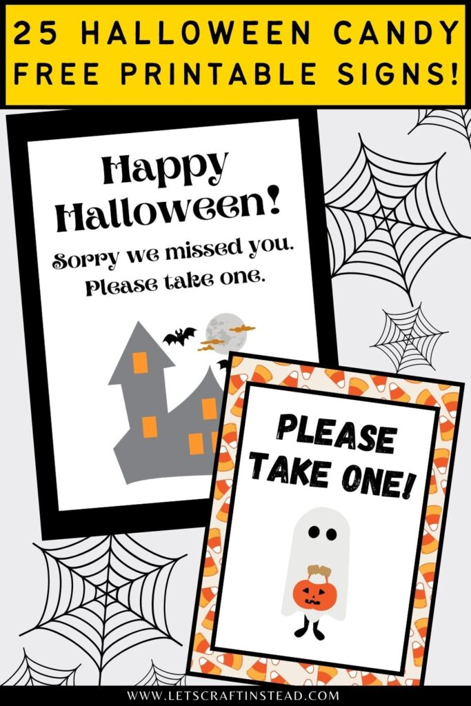 pinnable graphic with images of free printable halloween candy signs with text overlay
