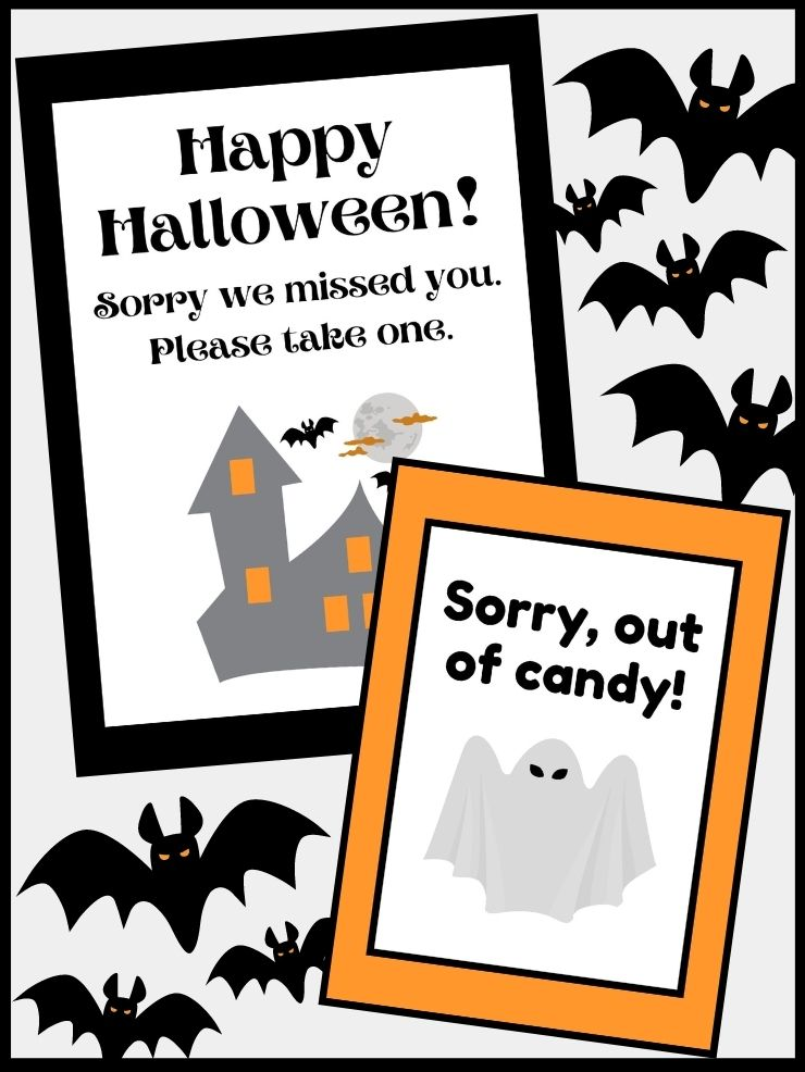 pinnable graphic with images of free printable halloween candy signs