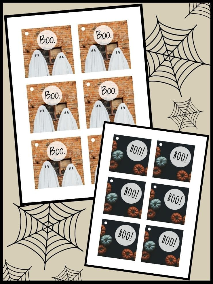 pinnable graphic with images of free printable Halloween gift tags