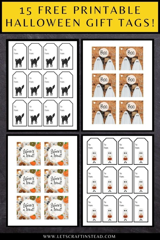 """pinnable graphic with images of free printable Halloween gift tags and text overlay saying """"15 free printable Halloween gift tags!"""""""