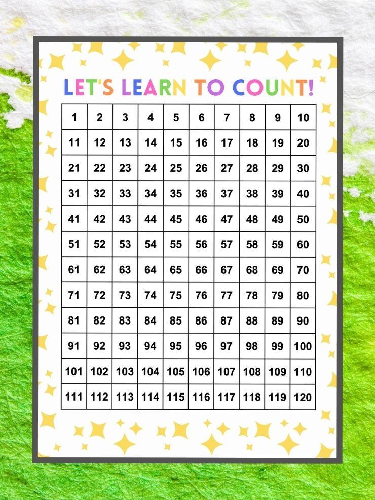 screenshot of a free printable 120 chart