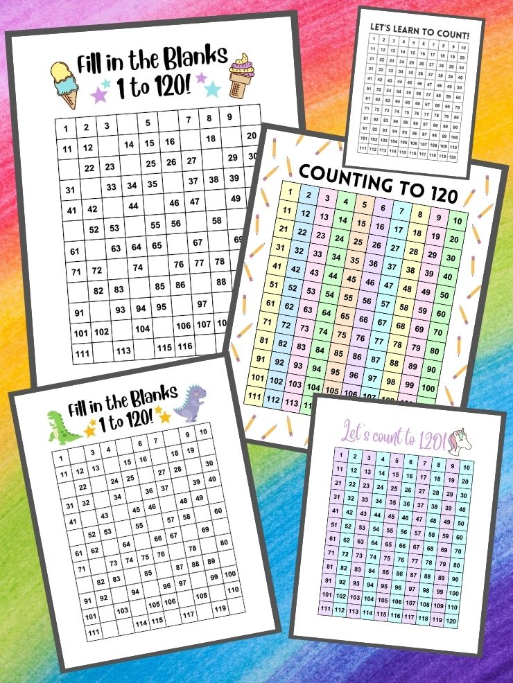 pinnable graphic about free printable 120 charts including images of the charts