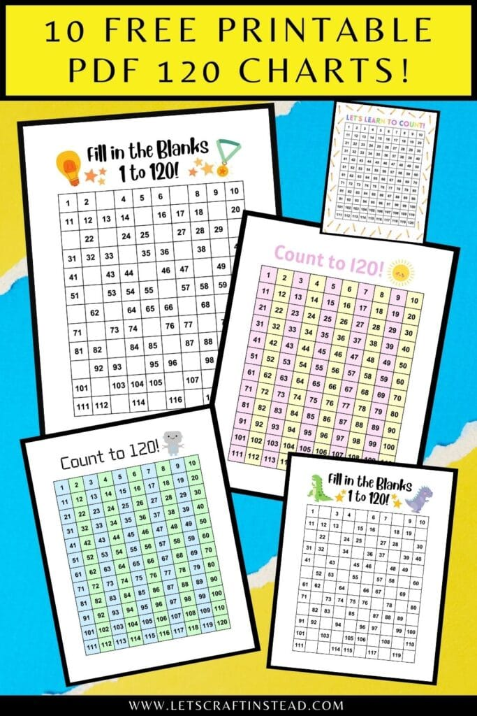 pinnable graphic about free printable 120 charts including text overlay and images of the charts