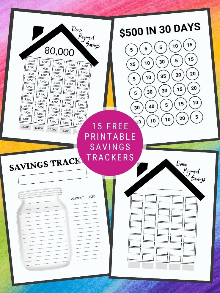 free printables savings trackers with text overlay and images of some of the trackers