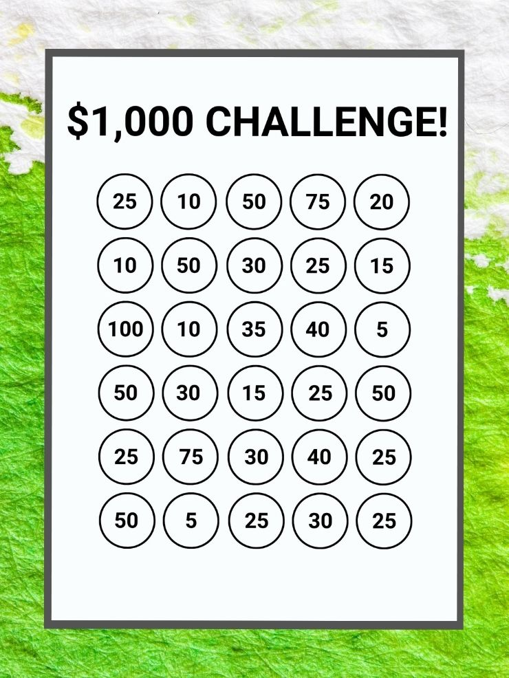 free printable $1,000 savings tracker
