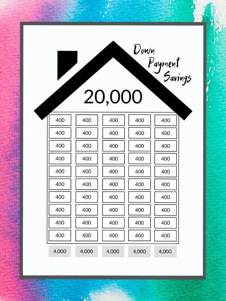free printable down payment savings tracker
