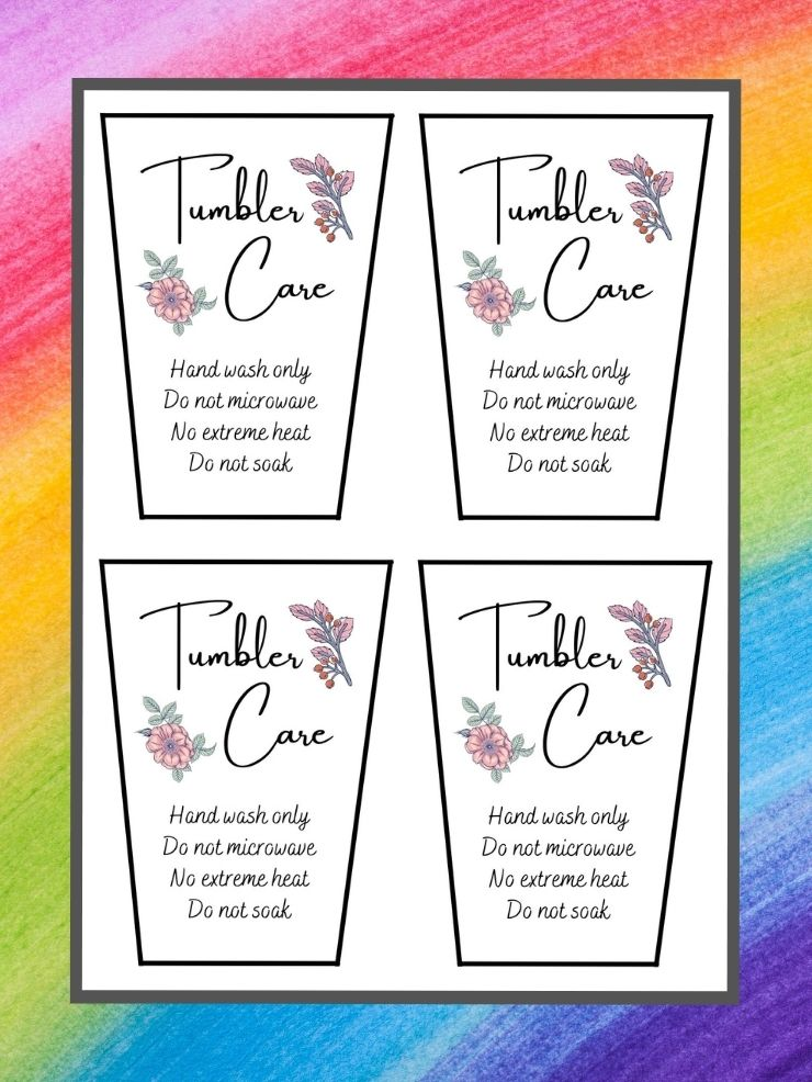 pinnable graphic with images of printable tumbler care cards