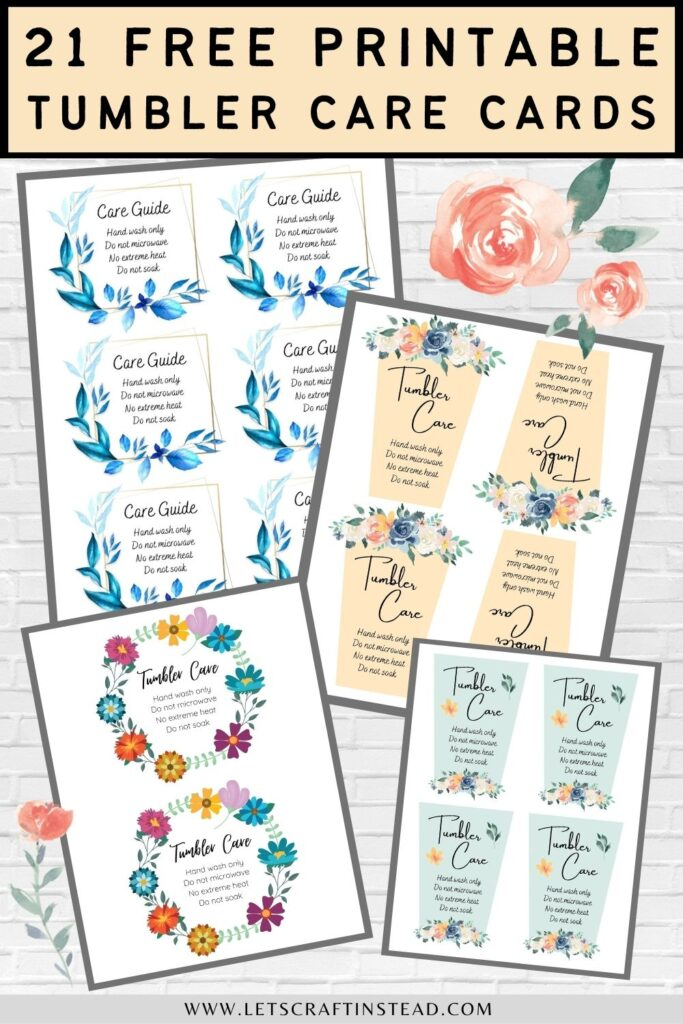 pinnable graphic with images of printable tumbler care cards including text overlay