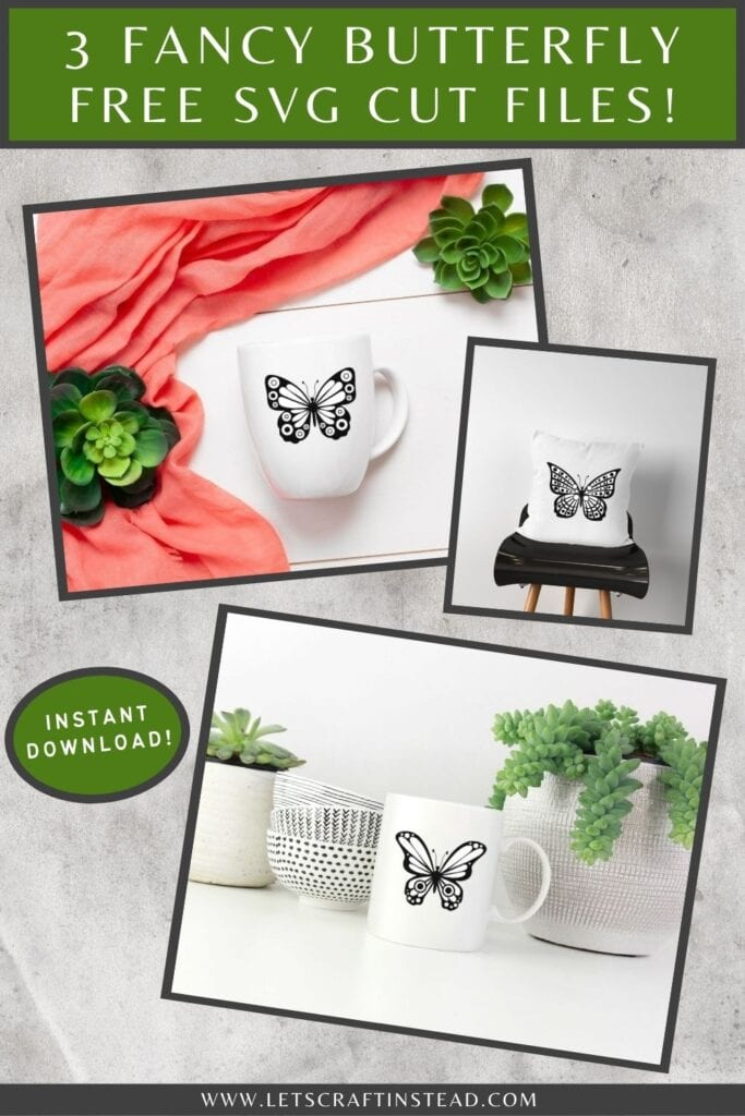 pinnable graphic about fancy butterfly free SVG files including text overlay and images of the butterflies