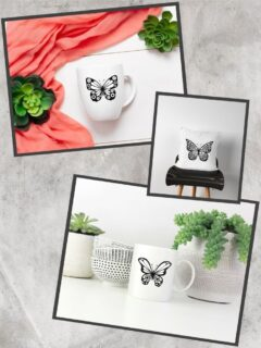 free Cricut butterfly SVG files mocked up on coffee cups and a pillow