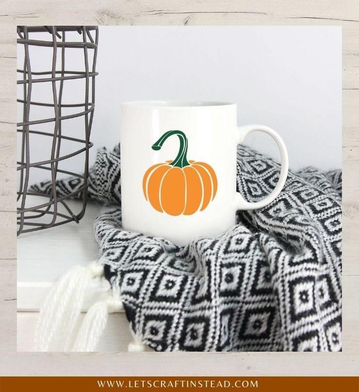 image of a pumpkin SVG file mocked up on a white coffee mug