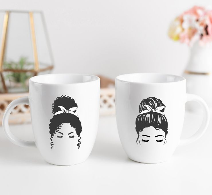 free messy bun svg files mocked up onto coffee cups