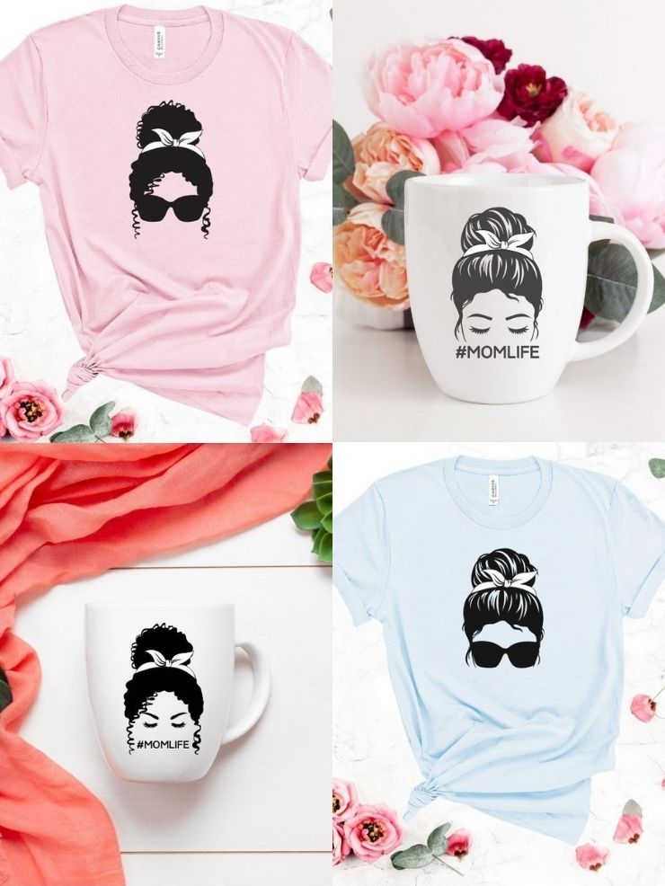 free messy bun svg files for black and white hair mocked up onto coffee cups and shirts