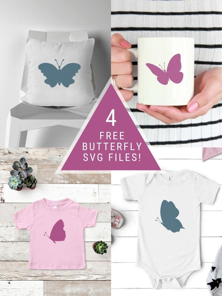pinnable graphic about 4 simple butterfly svg files including images of the files mocked up with text overlay