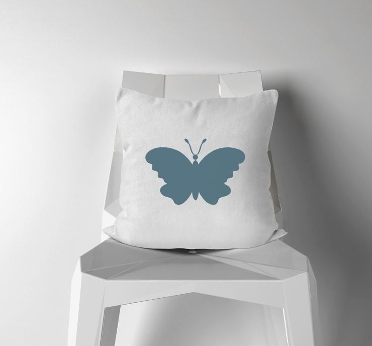free simple butterfly cut file mocked up on a pillow
