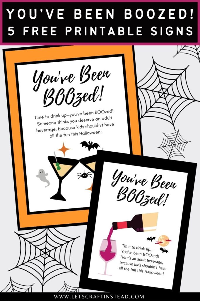 pinnable graphic about free you've been boozed game signs including images and text overlay