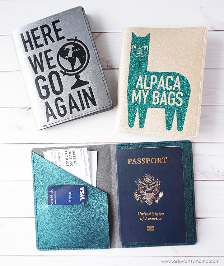 three passport covers made using leather and a Cricut