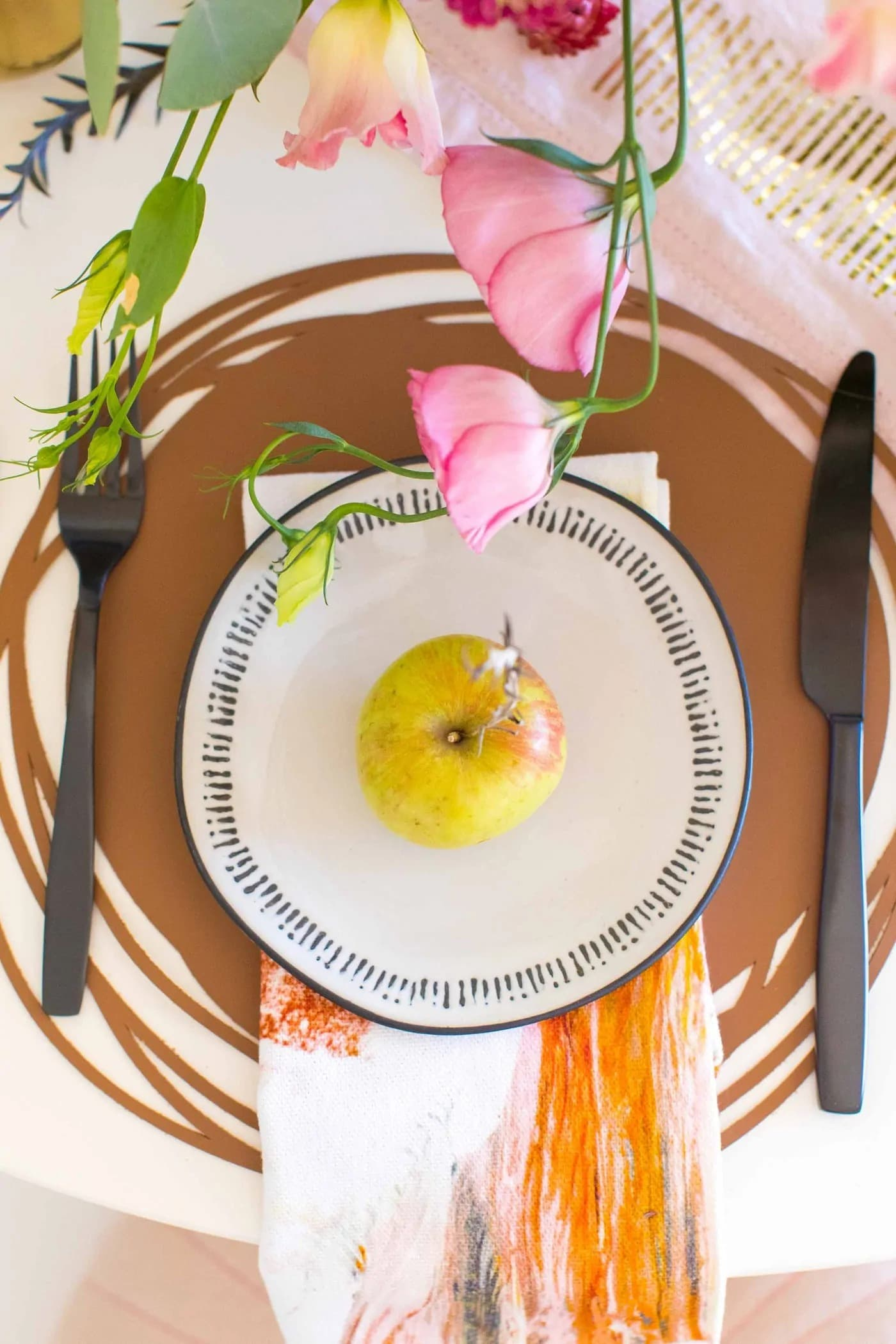 table setting using leather placemat