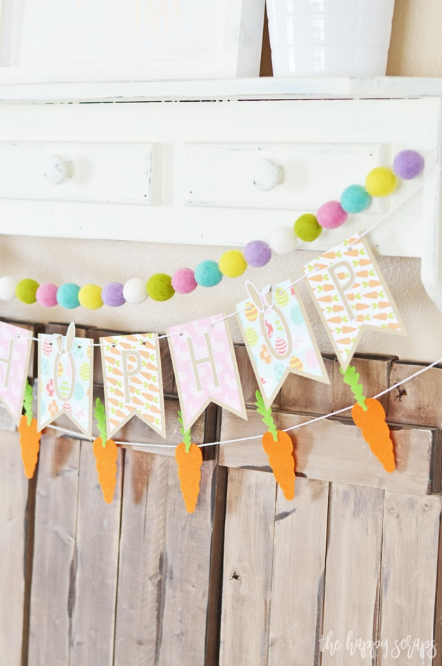 felt carrot bunting layered with pennant