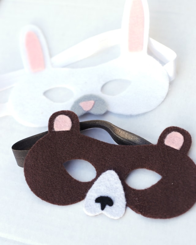 rabbit and bear felt masks for kids made on a Cricut