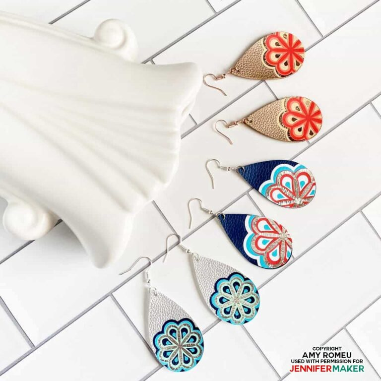 three sets of colorful leather earrings