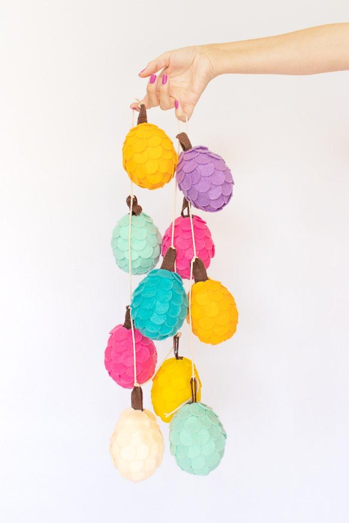 bright multi-colored felt pine cone garland