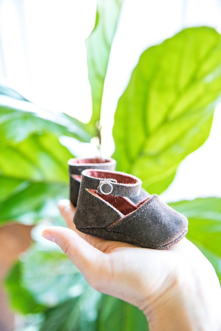 leather baby shoes made with a Cricut