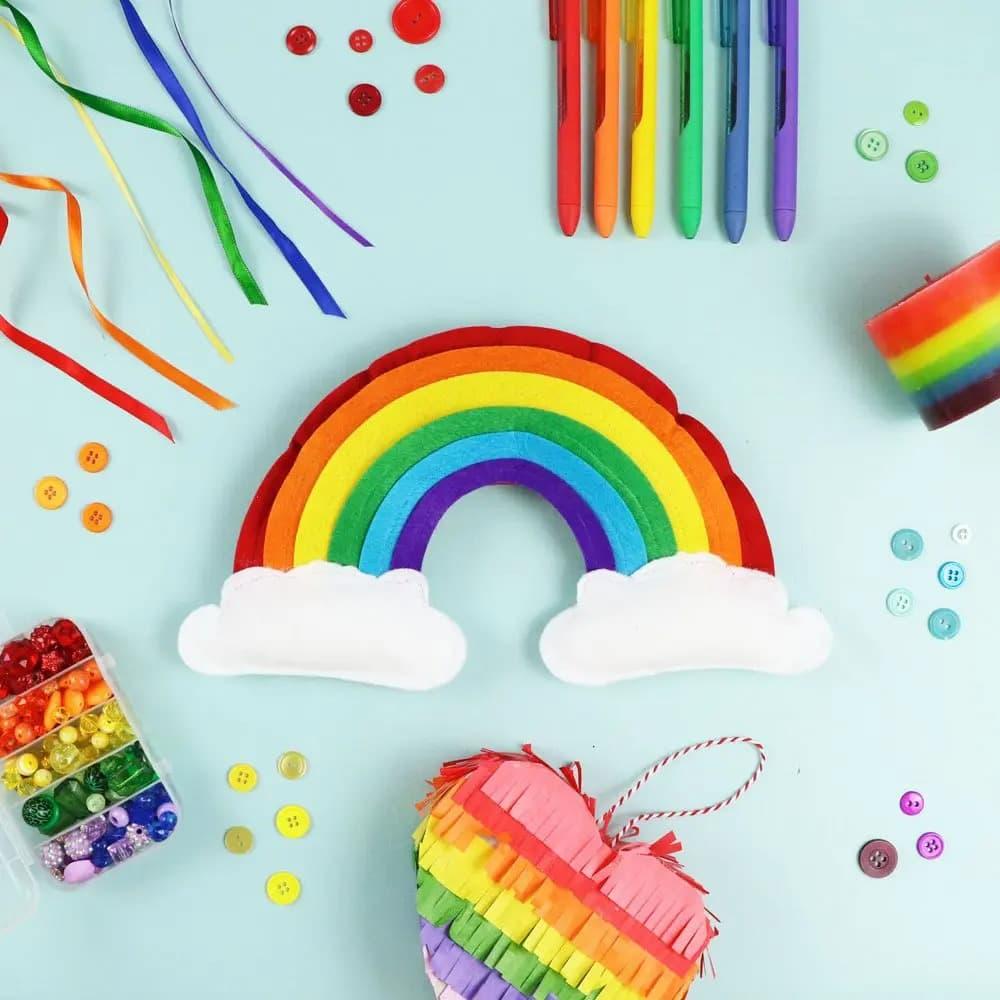 felt rainbow made with cricut