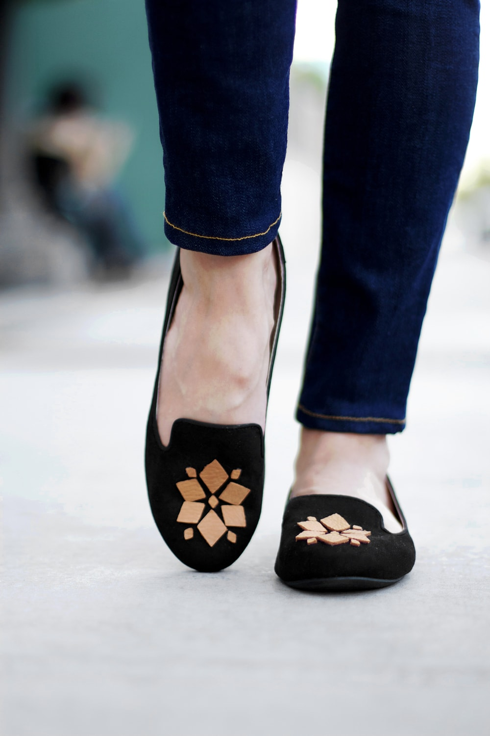 loafers with leather embellishment made with Cricut