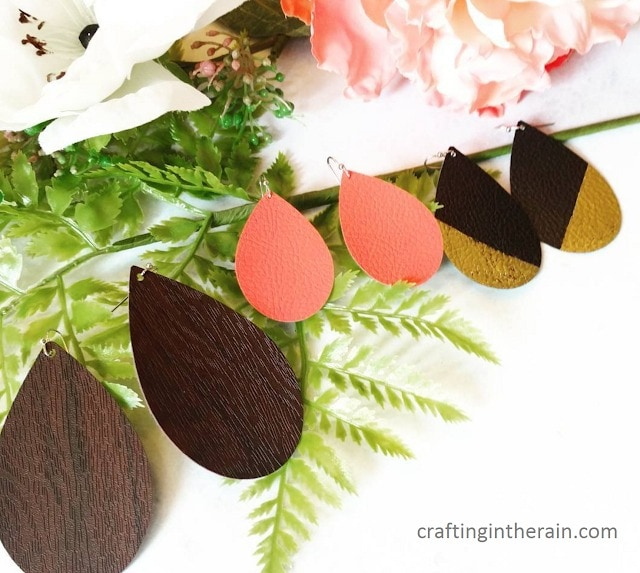 3 sets of leather earrings made with the Cricut Maker