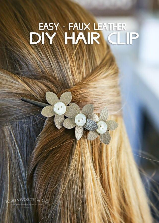 leather flower hair clip made with Cricut